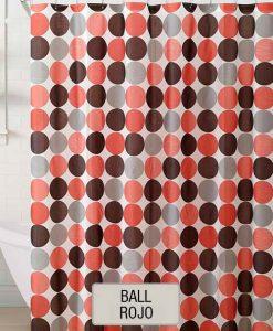 Cortina de Baño 100% PEVA ECA - Ball Rojo