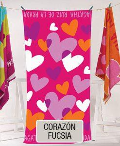 Toallones - Playero Estampado Agatha Ruiz de la Prada - Corazon Fucsia
