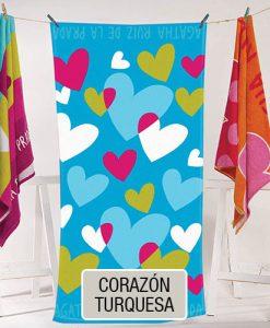 Toallones - Playero Estampado Agatha Ruiz de la Prada - Corazon Turquesa