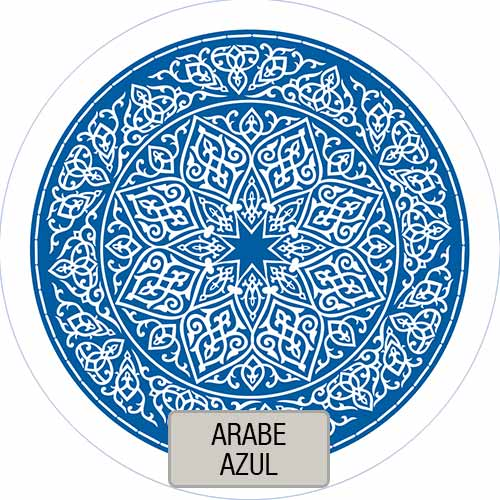 Mantel Redondo Estampado Arabe Azul VHMAN180E