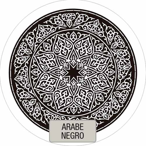 Mantel Redondo Estampado Arabe Negro VHMAN180E