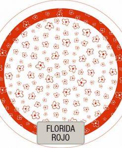 Mantel Redondo Estampado Florida Rojo VHMAN180E